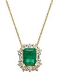 Macy's 14K Gold Necklace Emerald 1 5 8 Ct. T.W. And Diamond 5 8 Ct. T.W. Pendant