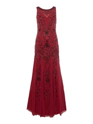 Ariella Beaded Chiffon Gown Berry
