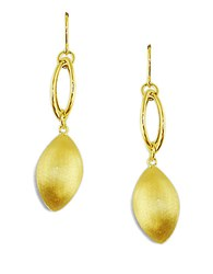 Lord And Taylor 14K Yellow Gold Satin Finish Drop Earrings