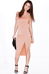 Boohoo Off The Shoulder Wrap Skirt Midi Dress Rose