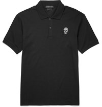 Alexander Mcqueen Slim Fit Skull Patch Cotton Pique Polo Shirt Black