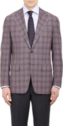 Kiton Worsted Plaid Two Button Sportcoat Brown Size 44 Long