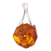 Be Jewelled Amber Facet Style Silver Sterling Pendant Cognac