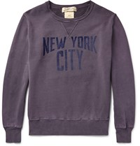 Remi Relief Distressed Printed Loopback Cotton Jersey Sweatshirt Grape