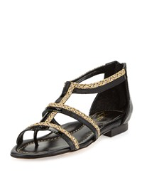 Eric Javits Brody Patent Caged Sandal Black Sulfate