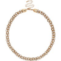 River Island Womens Gold Tone Diamante Short Rope Necklace