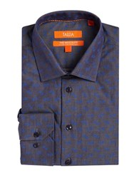 Tallia Orange Floral Chambray Dress Shirt Indigo