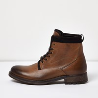 River Island Mens Brown Leather Textile Lined Boots