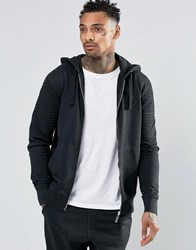 Criminal Damage Zip Through Biker Hoodie Black