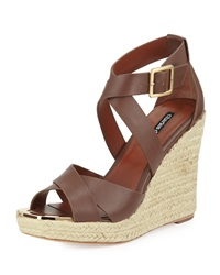 Charles David Olympia Leather Wedge Sandal Spice Brown