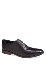 Hush Puppies Brogued Wingtip Black Leather