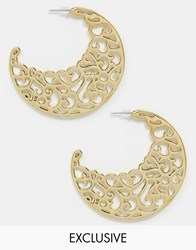 Designsix Cut Out Hoop Earrings Gold