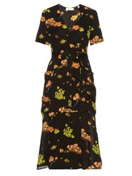 A.L.C. Stephanie Floral Print Silk Crepe Wrap Dress Black Multi