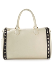 Yves Saint Laurent Vintage Cut Out Trim Tote Nude And Neutrals