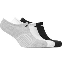 Nike Three Pack Cushioned Cotton Blend No Show Socks Gray