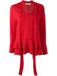 Marni Neck Tie Blouse Red