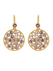 Marie Helene De Taillac Multicoloured Sapphire And Yellow Gold Earrings