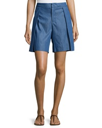 F.T.B By Fade To Blue Pleated Chambray Shorts Medium Blue