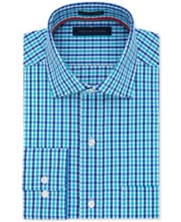 Tommy Hilfiger Men's Classic Fit Non Iron Tattersall Dress Shirt Lake