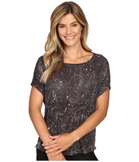 Lucy Positive Mind Short Sleeve Grey Constellation Print Women's Short Sleeve Pullover Brown