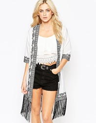 Warehouse Embellished Tassel Kaftan White