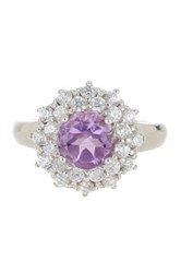 Savvy Cie Sterling Silver Amethyst And Cz Flower Ring Purple