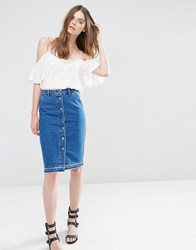 Asos Denim Slim Buttonthrough Midi Skirt With Let Down Hem Blue