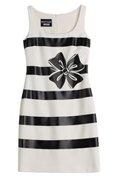 Boutique Moschino Bow Print Striped Sheath Dress White