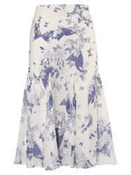 Chesca Butterfly Print Silk Skirt Ivory Navy