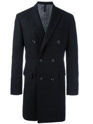 Paolo Pecora Double Breasted Coat Black