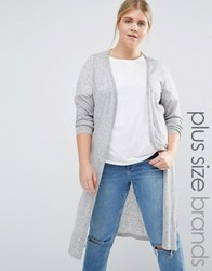 Junarose Longline Knitted Cardigan With Side Splits Grey