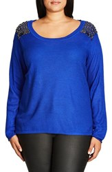 City Chic Plus Size Women's Embellished Shoulder Drop Tail Sweater Ultra Blue