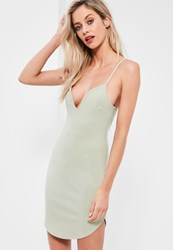 Missguided Green Strappy Plunge Bodycon Dress