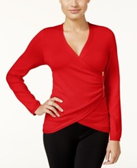 Thalia Sodi Zipper Trim Faux Wrap Sweater Only At Macy's Lipstick Red
