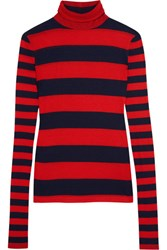 J.Crew Striped Tencel And Cashmere Blend Turtleneck Sweater Red