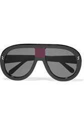 Stella Mccartney D Frame Acetate Mirrored Sunglasses Black Purple