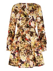 Mela Loves London Rose Print Long Sleeve Dress Yellow