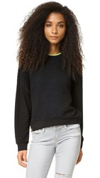 Monreal London Cropped Quilted Sweatshirt Black