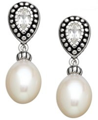 Honora Style Cultured Freshwater Pearl 8Mm And White Topaz 1 10 Ct. T.W. Earrings In Sterling Silver