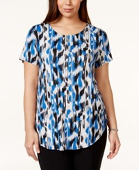 Alfani Plus Size Printed T Shirt Only At Macy's Blue Multi