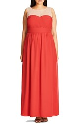 City Chic Plus Size Women's Embellished Sheer Illusion Neck Gown Scarlet