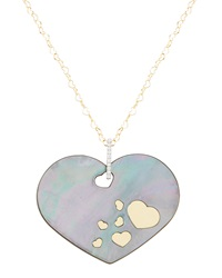Nanis 32' Black Mother Of Pearl And Diamond Heart Pendant Necklace