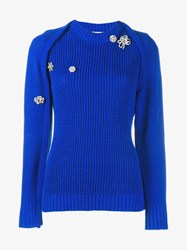 Preen Brooch Embellished Knitted Jumper Blue White