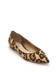 Sam Edelman Rae Brahman Hair Point Toe Flats Leopard