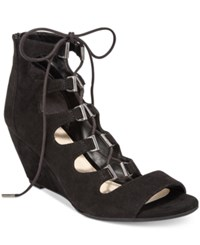 Bar Iii Kerry Lace Up Wedge Dress Sandals Only At Macy's Women's Shoes Black