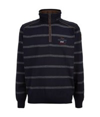 Paul And Shark Kipawa Stripe Zip Neck Sweater Navy