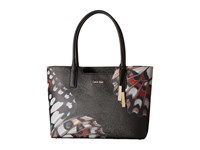 Calvin Klein Printed Saffino Tote Black Butterfly Abstract Tote Handbags