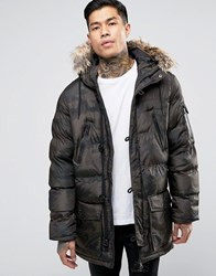 Brave Soul Padded Camo Parka With Faux Fur Hood Green