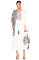 Thakoon Pocket Front Cardigan Sweater In Gray White
