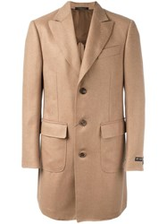 Corneliani Buttoned Single Breasted Coat Nude Neutrals